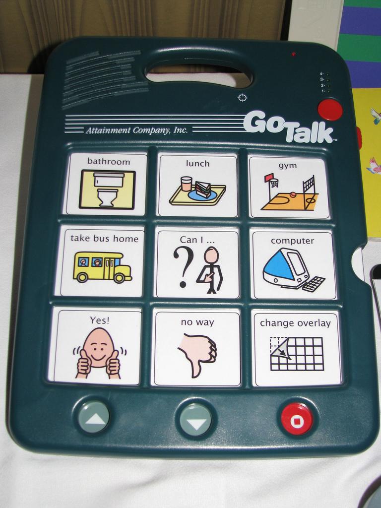 Imagen ilustrativa, se ve un comunicador para personas con dificultades para comunicarse oralmente, que tiene botones con dibujos de diferentes acciones que al ser presionados emiten sonido