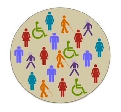 Inclusión: En la imagen se observa un círculo gris y dentro del mismo, íconos de personas con y sin discapacidad.